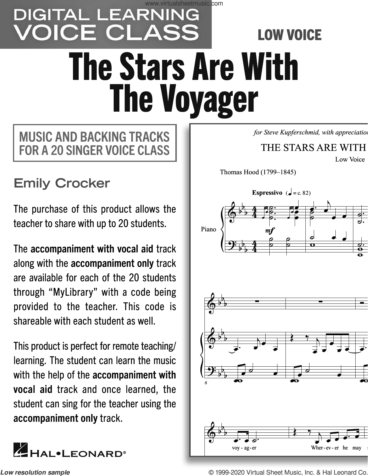 The Stars Are With The Voyager (Medium Low Voice) (includes Audio) sheet music for voice and piano (Medium Low Voice) by Emily Crocker and Thomas Hood (1799-1845), intermediate skill level