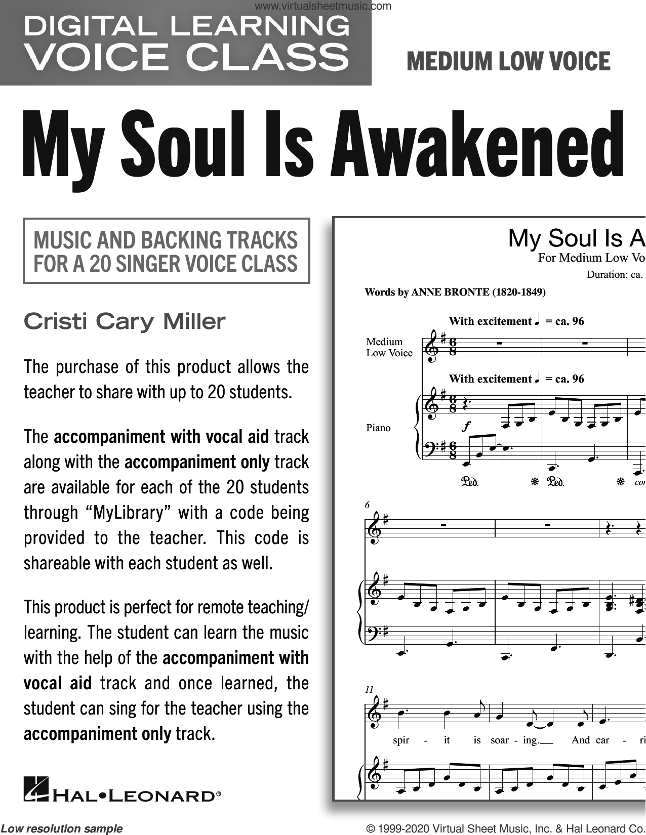 My Soul Is Awakened (Medium Low Voice) (includes Audio) sheet music for voice and piano (Medium Low Voice) by Cristi Cary Miller, intermediate skill level