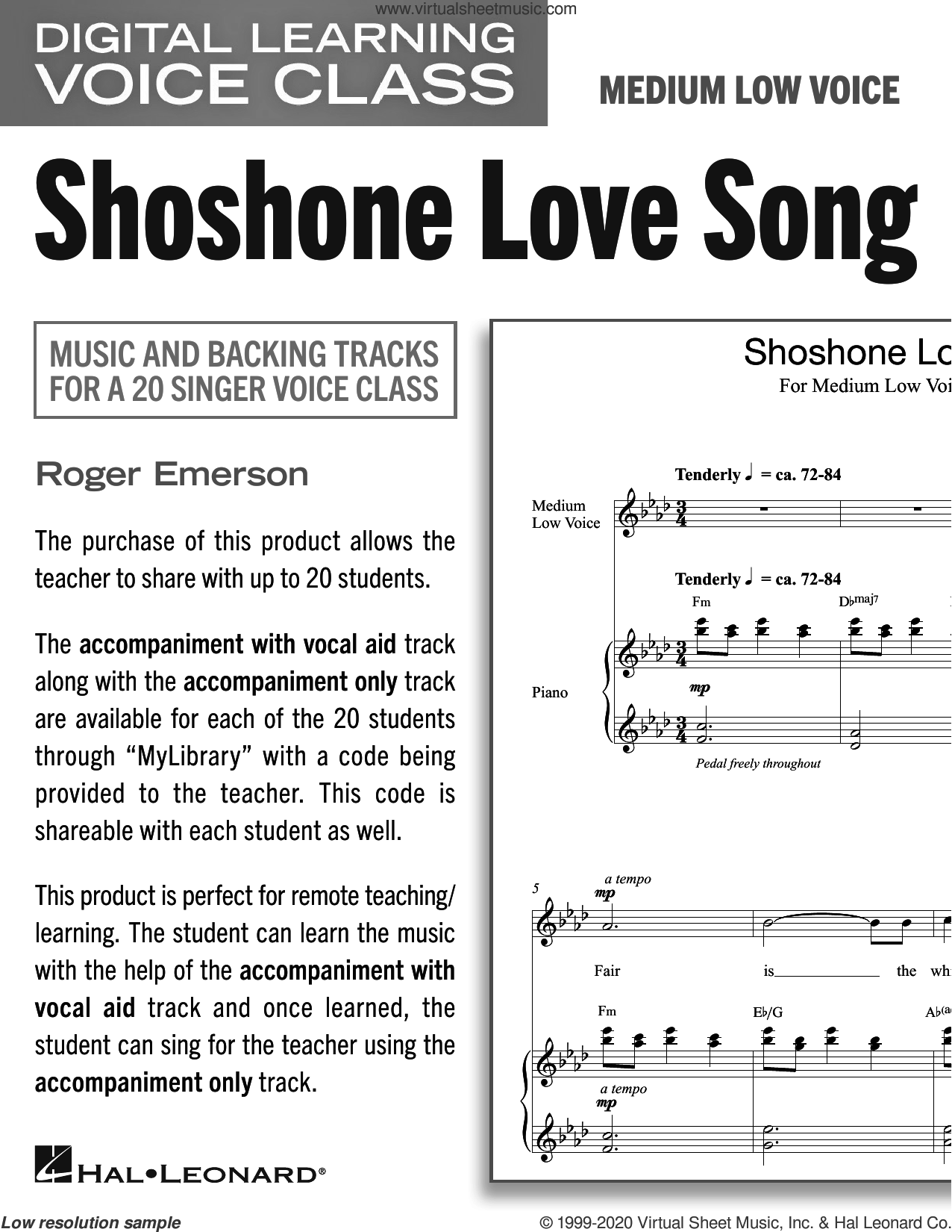 Shoshone Love Song (Medium Low Voice) (includes Audio) sheet music for voice and piano (Medium Low Voice) by Roger Emerson, intermediate skill level