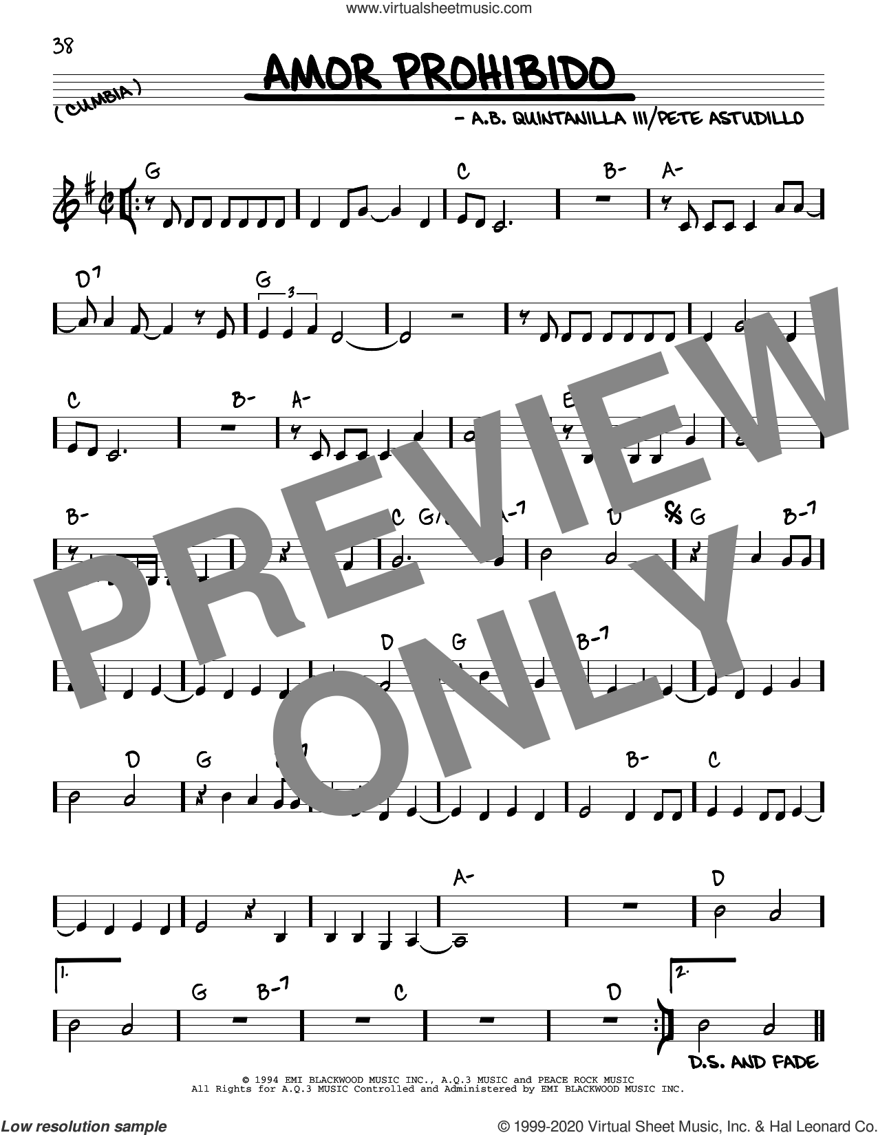 Amor Prohibido sheet music for voice and other instruments (real book) by Selena, Abe Quintanilla III and Pete Astudillo, intermediate skill level