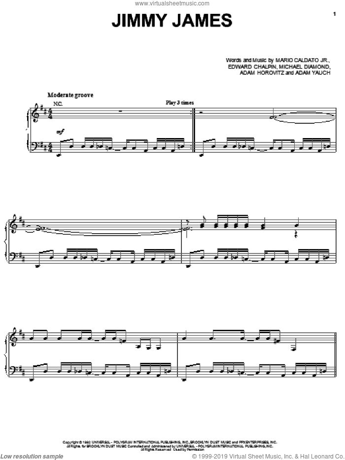 Jimmy James sheet music for voice, piano or guitar by Beastie Boys, Adam Horovitz, Adam Yauch, Edward Chalpin, Mario Caldato Jr. and Michael Diamond, intermediate skill level