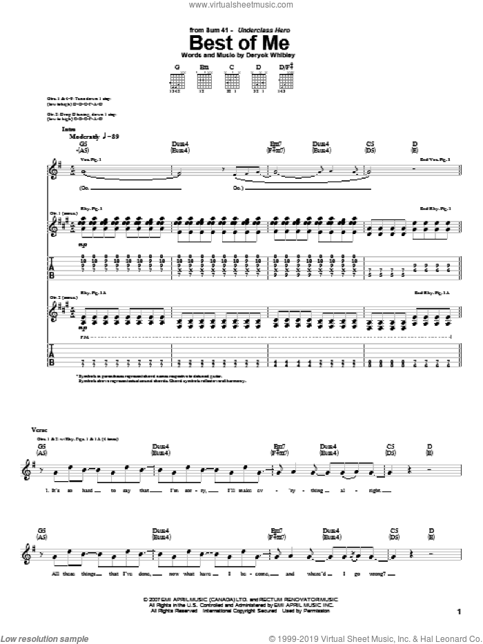 Best Of Me sheet music for guitar (tablature) by Sum 41, intermediate guitar (tablature). Score Image Preview.