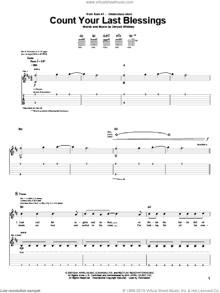 Count Your Last Blessings sheet music for guitar (tablature) by Deryck Whibley and Sum 41. Score Image Preview.