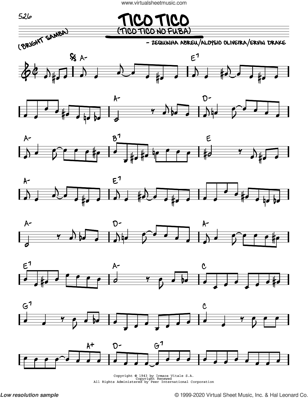 Tico Tico (Tico Tico No Fuba) sheet music for voice and other instruments (real book) by Andrews Sisters, Aloysio Oliveira, Ervin Drake and Zequinha de Abreu, intermediate skill level