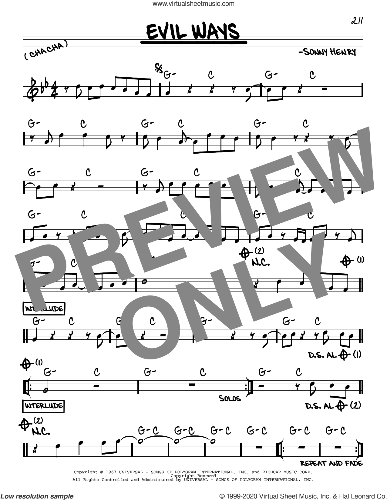 Evil Ways sheet music for voice and other instruments (real book) by Carlos Santana and Sonny Henry, intermediate skill level