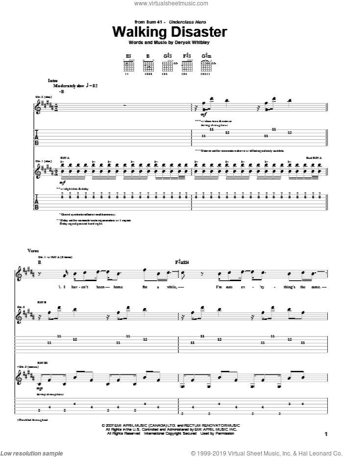 Walking Disaster sheet music for guitar (tablature) by Sum 41 and Deryck Whibley, intermediate