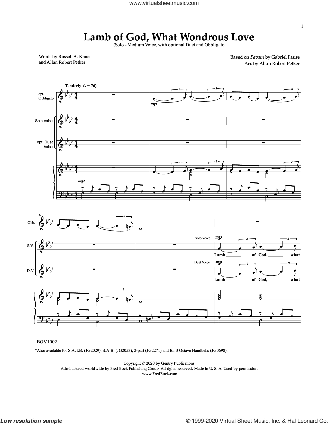 Lamb of God, What Wondrous Love sheet music for voice and piano by Gabriel Faure and Allan Petker, intermediate skill level