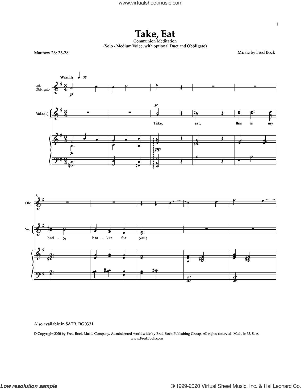Take, Eat sheet music for voice and piano by Fred Bock, intermediate skill level
