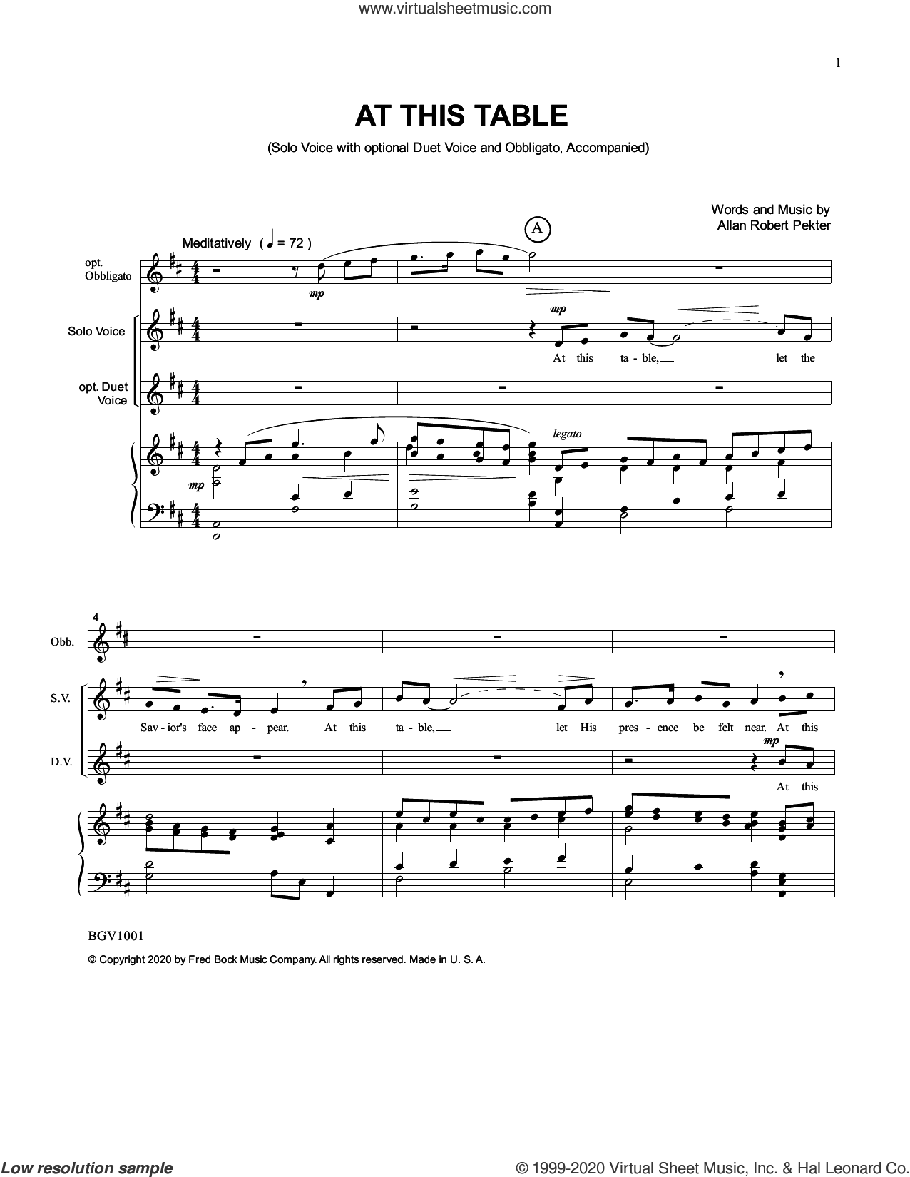 At This Table sheet music for voice and piano by Allan Robert Petker, intermediate skill level
