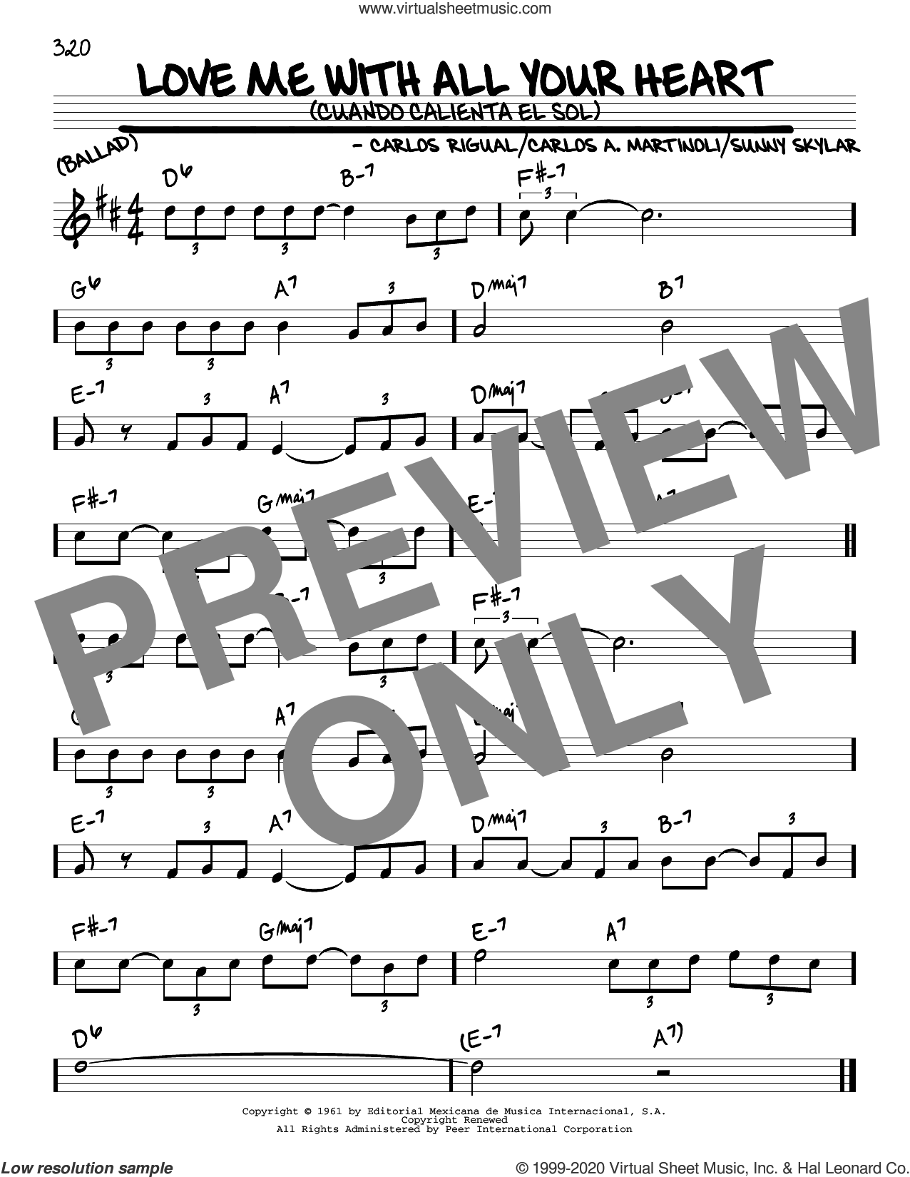 Love Me With All Your Heart (Cuando Calienta El Sol) sheet music for voice and other instruments (real book) by The Ray Charles Singers, Carlos A. Martinoli, Carlos Rigual and Sunny Skylar, intermediate skill level