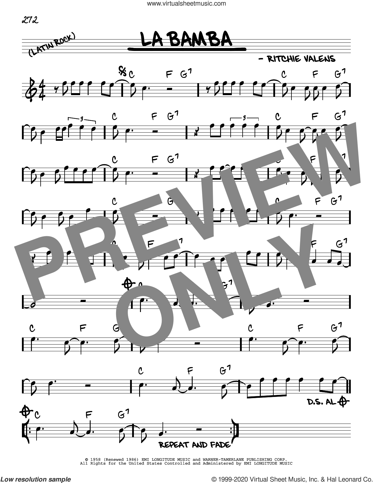 La Bamba sheet music for voice and other instruments (real book) by Los Lobos, Ritchie Valens and Richard Valenzuela, intermediate skill level