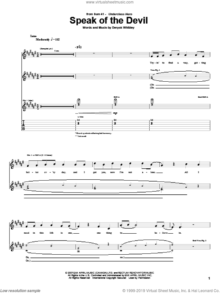 Speak Of The Devil sheet music for guitar (tablature) by Sum 41. Score Image Preview.