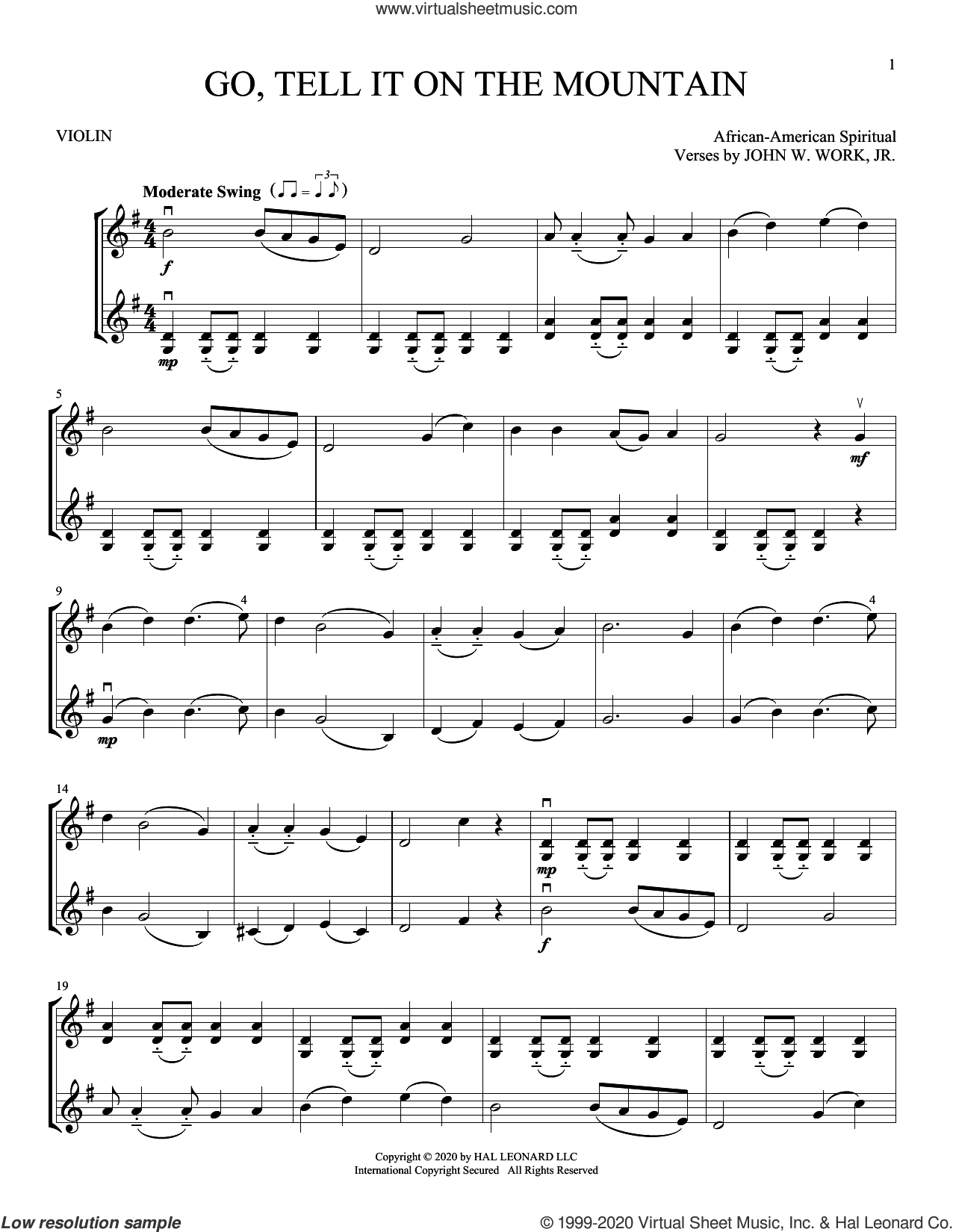 Go, Tell It On The Mountain sheet music for two violins (duets, violin duets) by John W. Work, Jr. and Miscellaneous, intermediate skill level