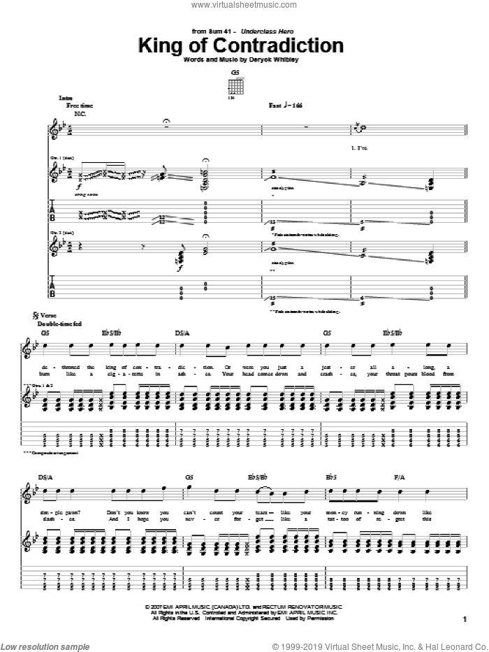 King Of Contradiction sheet music for guitar (tablature) by Deryck Whibley and Sum 41. Score Image Preview.
