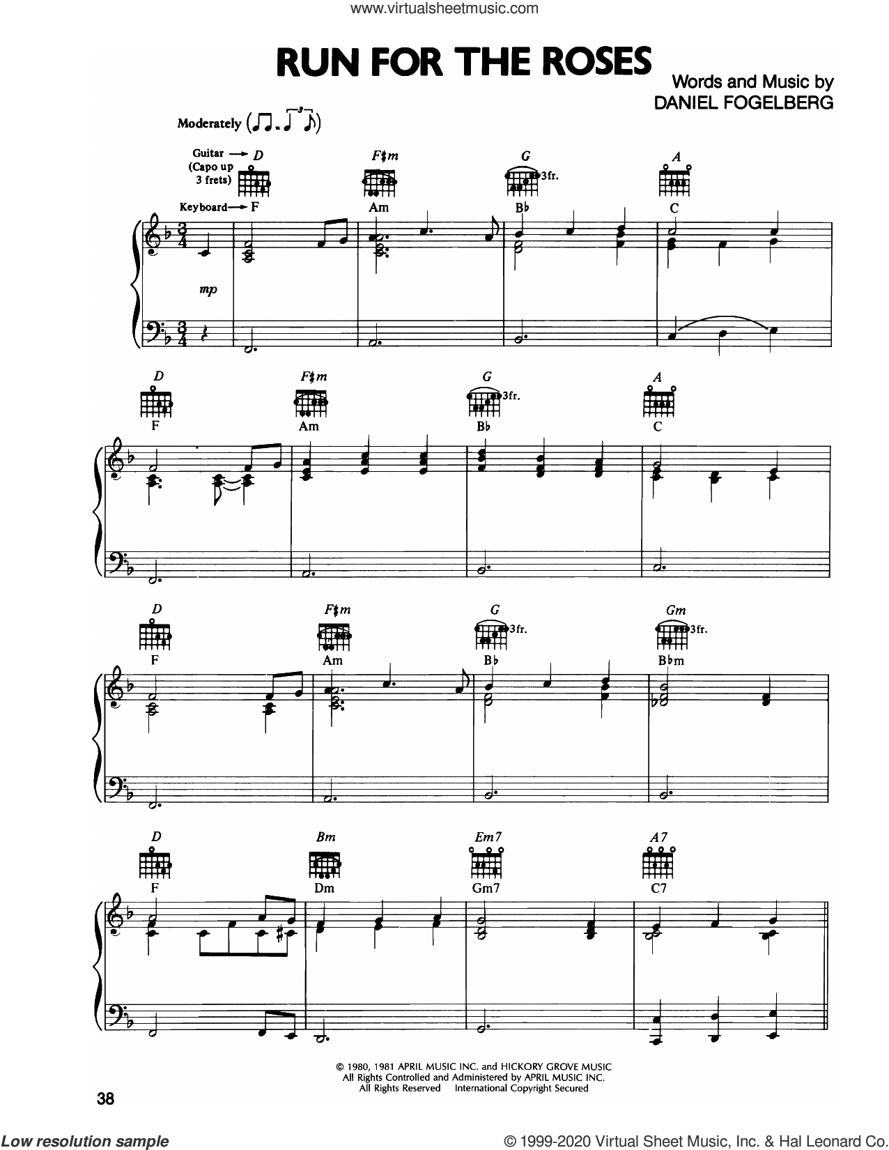 Run For The Roses sheet music for voice, piano or guitar by Dan Fogelberg, intermediate skill level