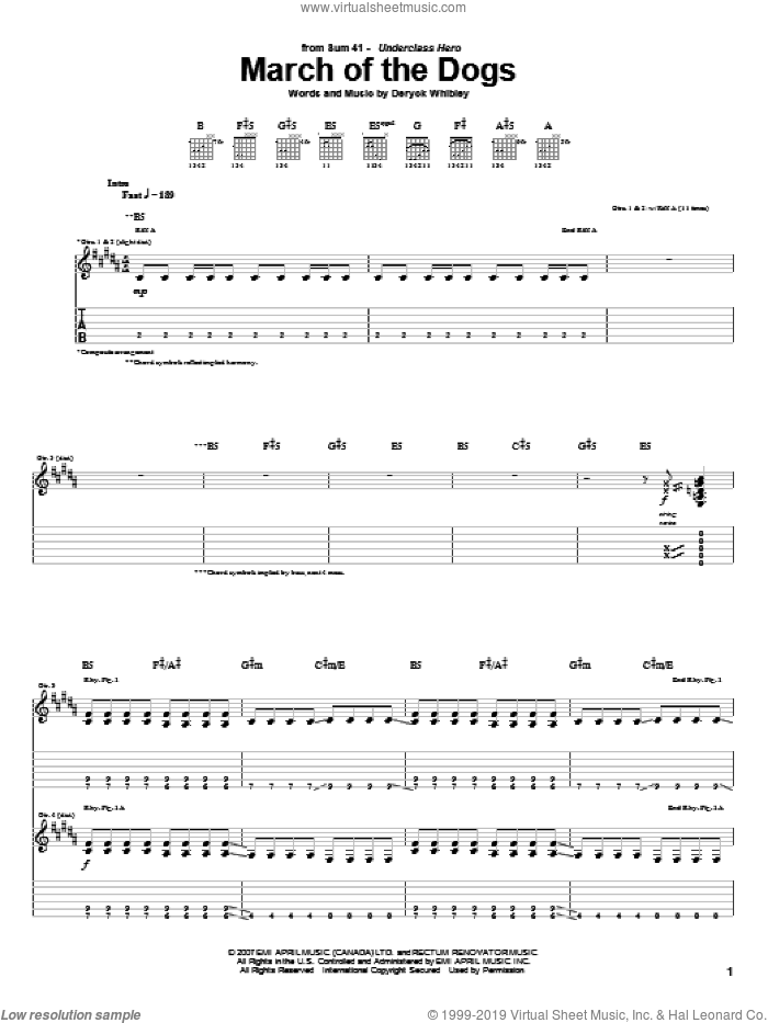 March Of The Dogs sheet music for guitar (tablature) by Sum 41. Score Image Preview.