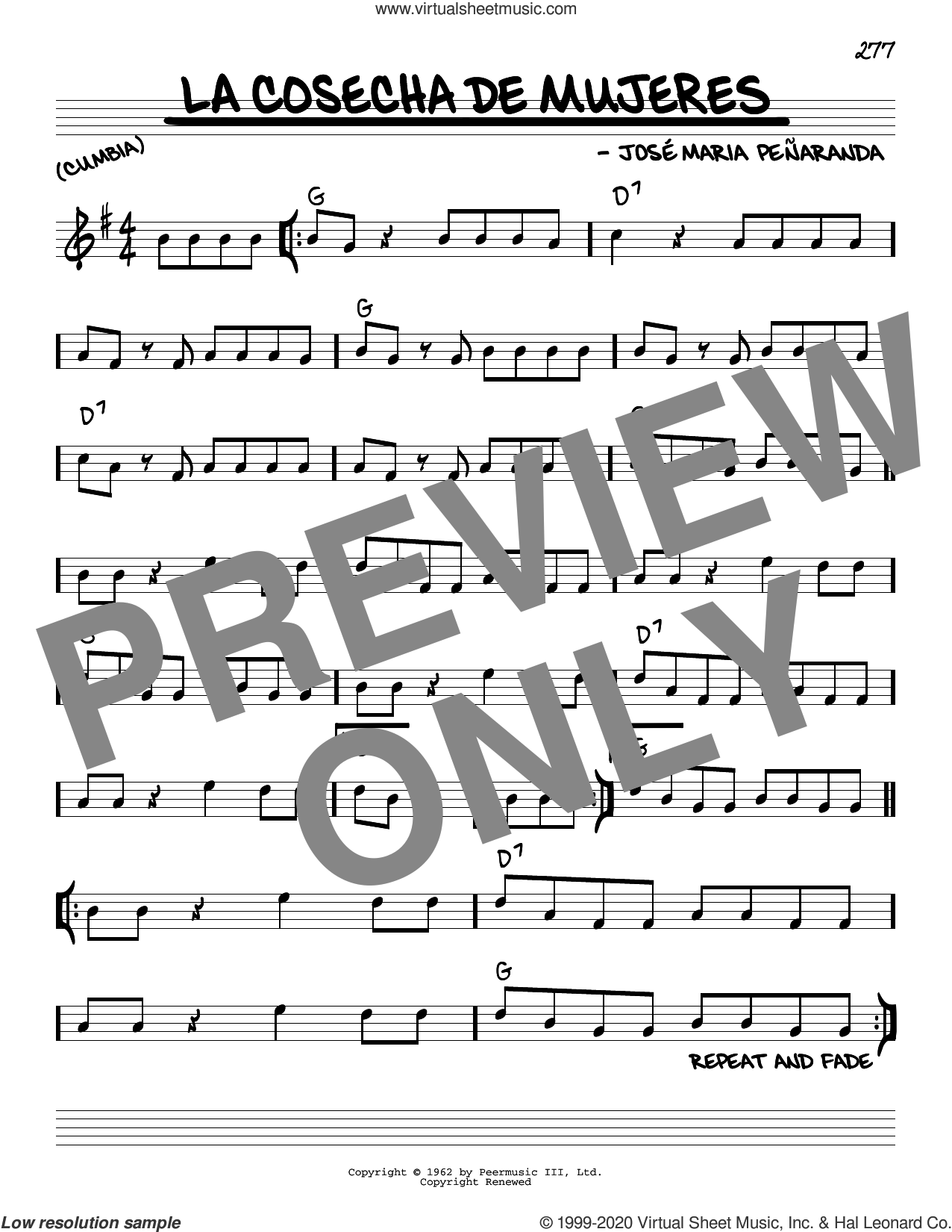La Cosecha De Mujeres sheet music for voice and other instruments (real book) by José Maria Peñaranda, intermediate skill level