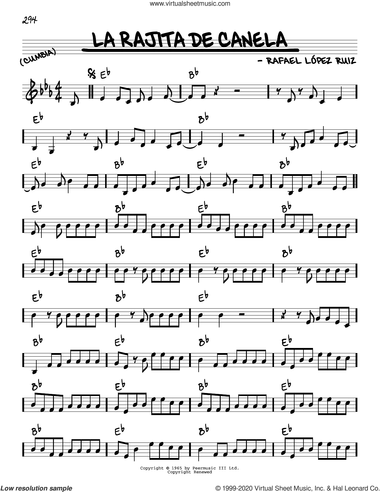 La Rajita De Canela sheet music for voice and other instruments (real book) by Rafael Lopez Ruiz, intermediate skill level