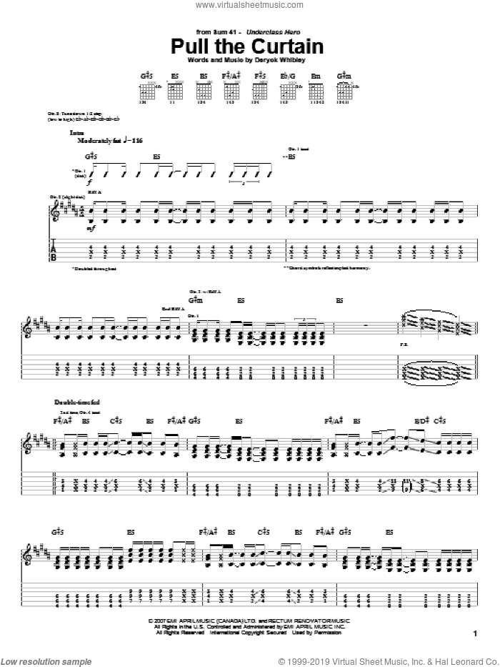 Pull The Curtain sheet music for guitar (tablature) by Sum 41. Score Image Preview.