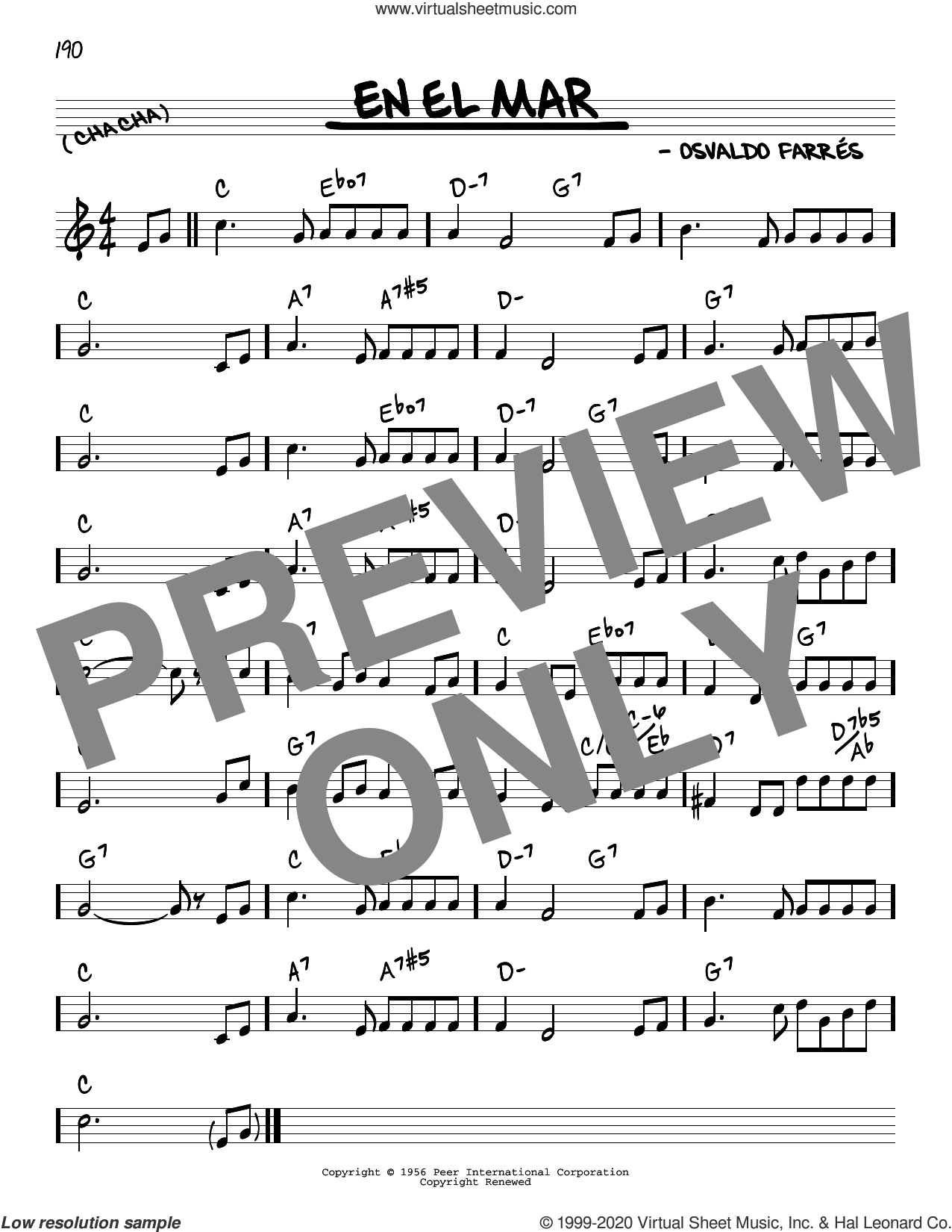 En El Mar sheet music for voice and other instruments (real book) by Osvaldo Farres, intermediate skill level