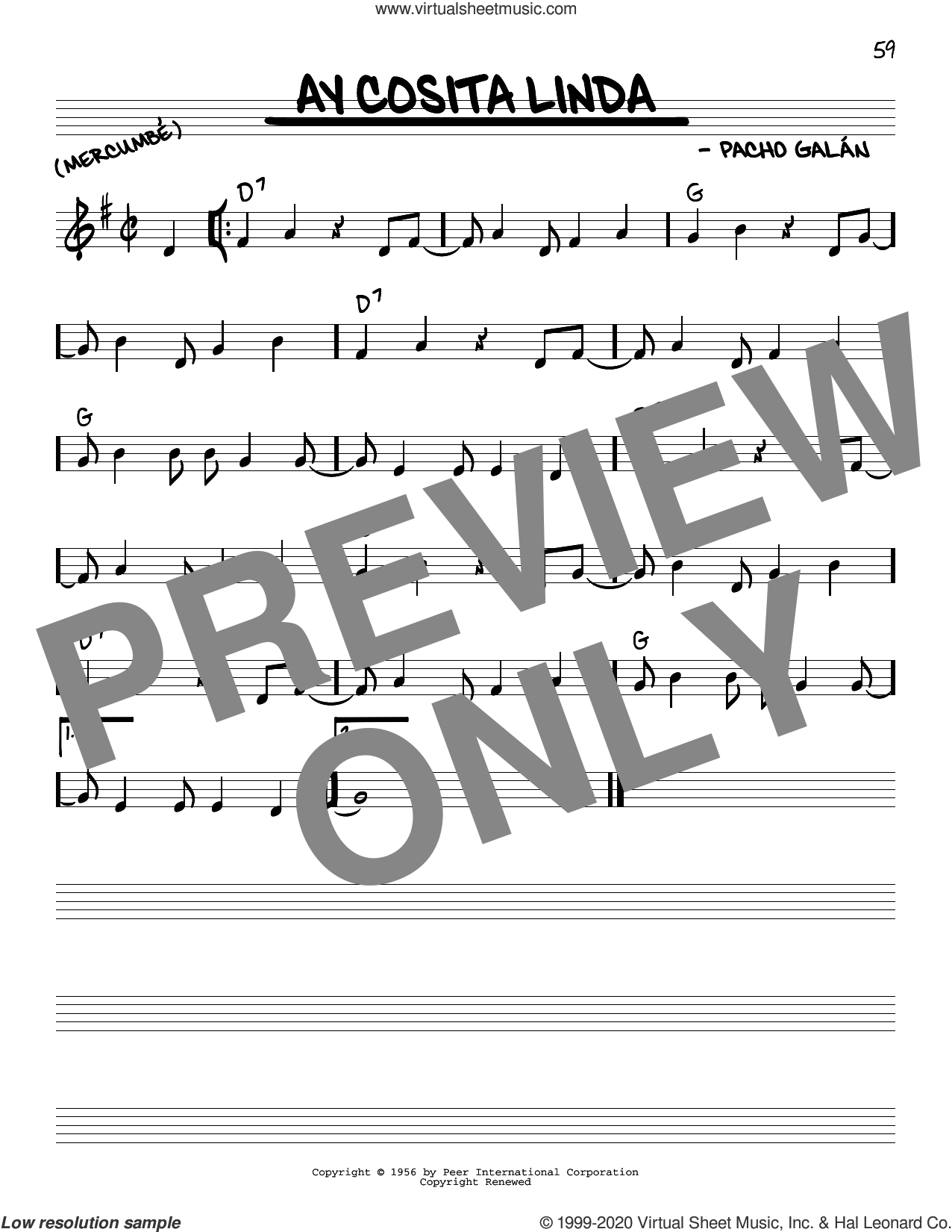 Ay Cosita Linda sheet music for voice and other instruments (real book) by Pacho Galan, intermediate skill level