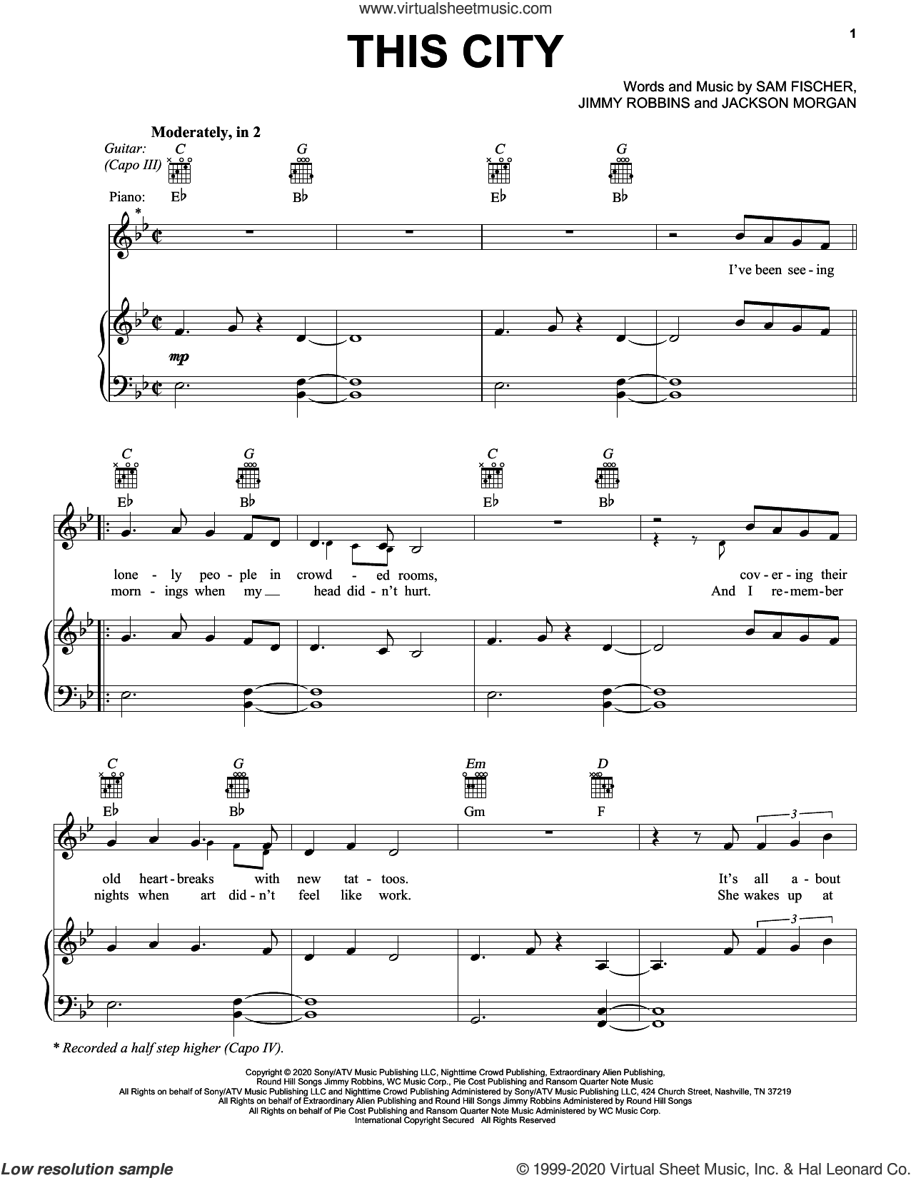 This City sheet music for voice, piano or guitar by Sam Fischer, Jackson Morgan and Jimmy Robbins, intermediate skill level