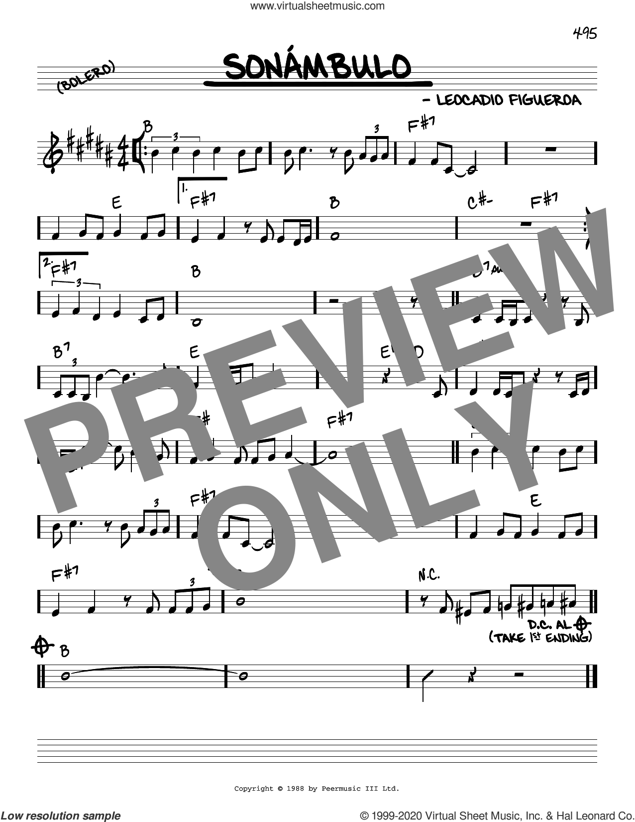 Sonambulo sheet music for voice and other instruments (real book) by Leocadio Figueroa, intermediate skill level