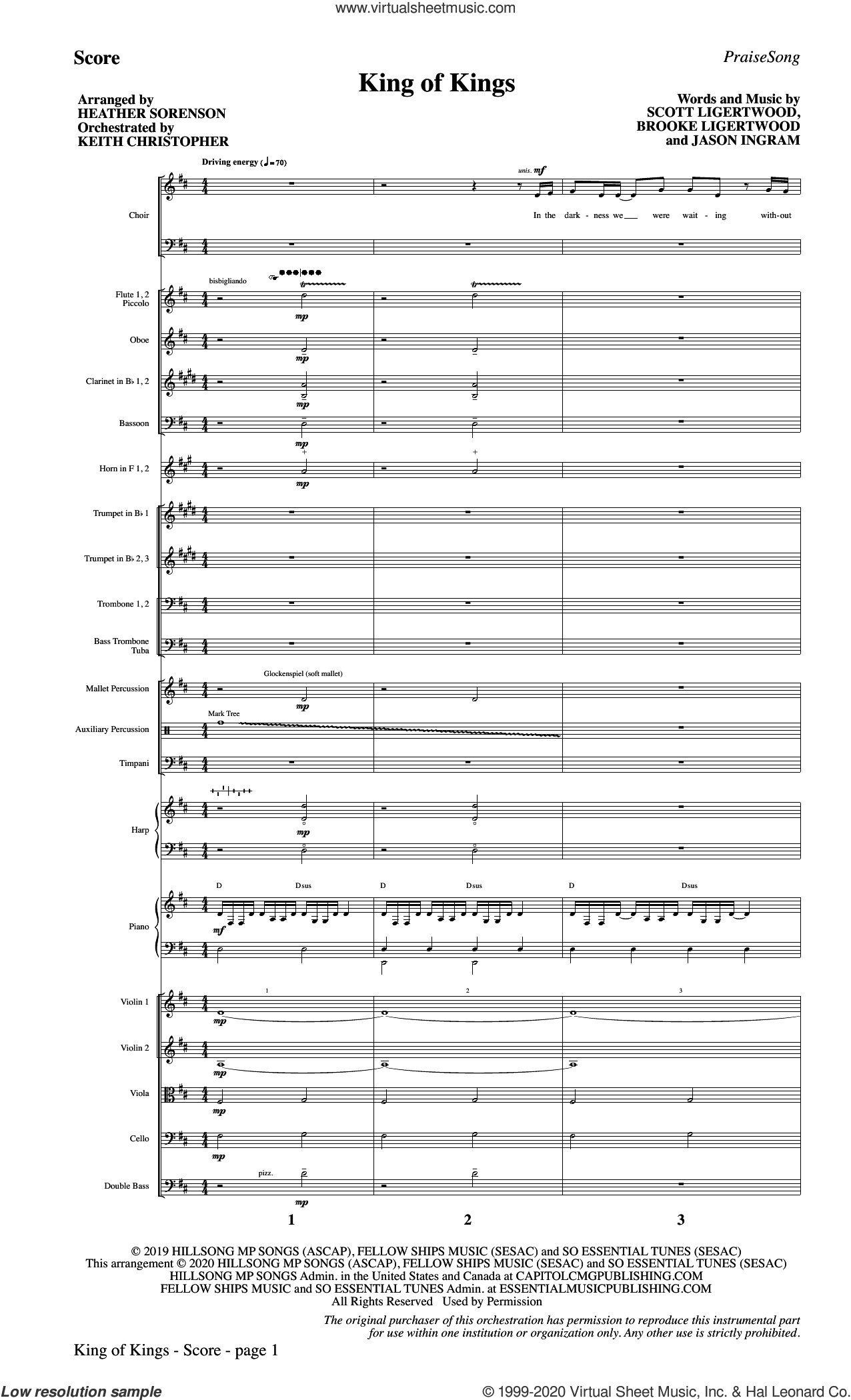 King Of Kings (arr. Heather Sorenson) (COMPLETE) sheet music for orchestra/band by Heather Sorenson, Brooke Ligertwood, Hillsong Worship, Jason Ingram and Scott Ligertwood, intermediate skill level