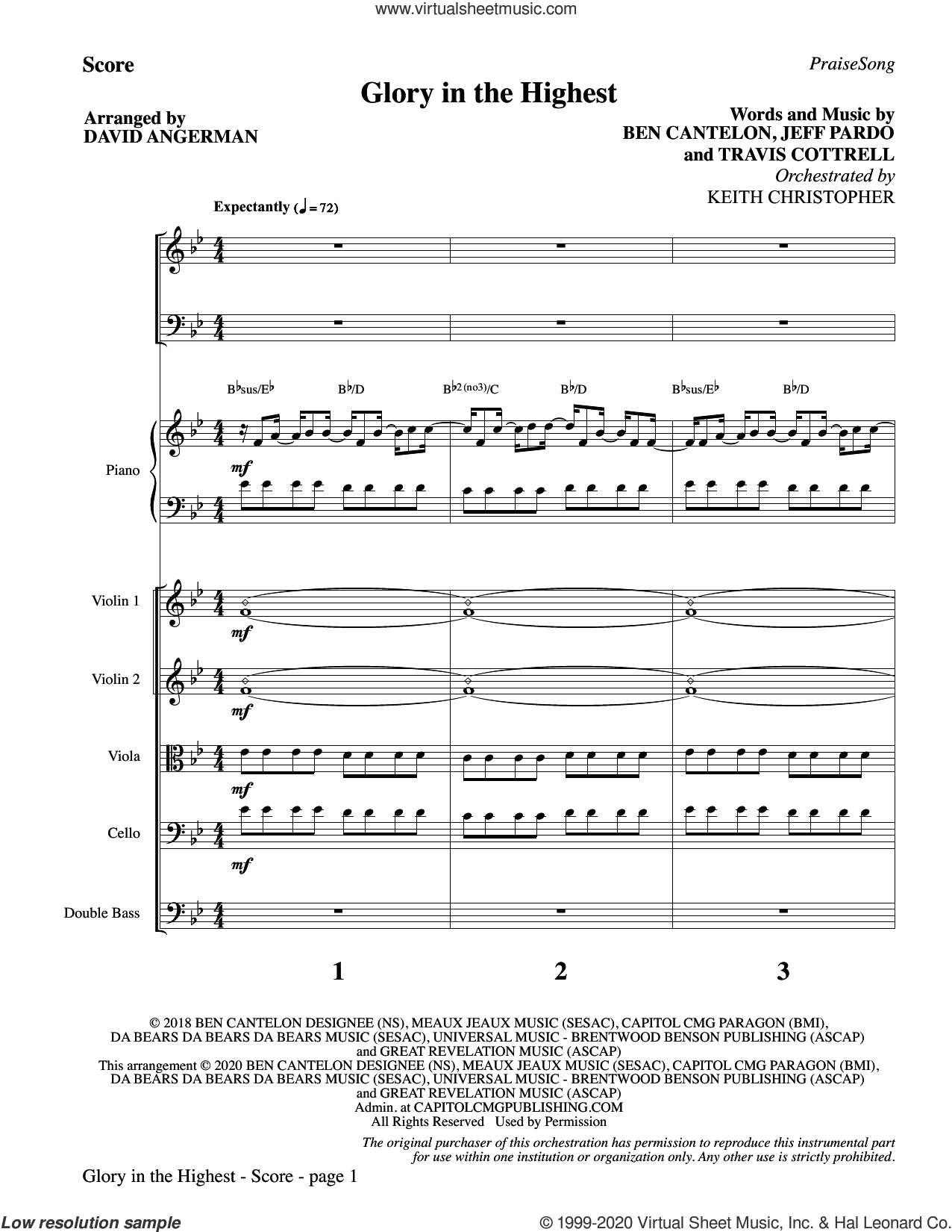 Glory In The Highest (arr. David Angerman) (COMPLETE) sheet music for orchestra/band by David Angerman, Ben Cantelon, Jeff Pardo and Travis Cottrell, intermediate skill level