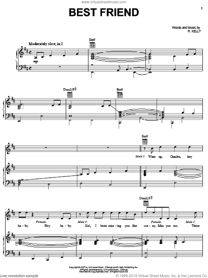 Best Friend sheet music for voice, piano or guitar by Robert Kelly