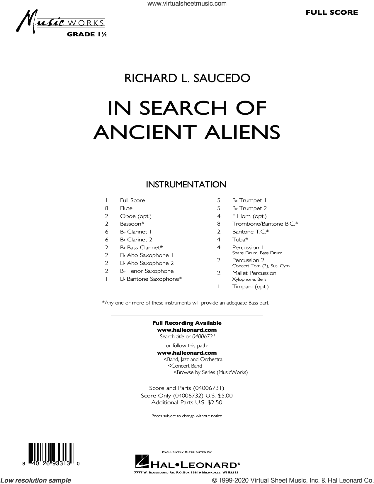 In Search of Ancient Aliens (COMPLETE) sheet music for concert band by Richard L. Saucedo, intermediate skill level