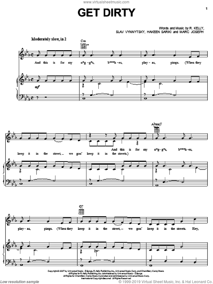 Get Dirty sheet music for voice, piano or guitar by Robert Kelly, intermediate voice, piano or guitar. Score Image Preview.