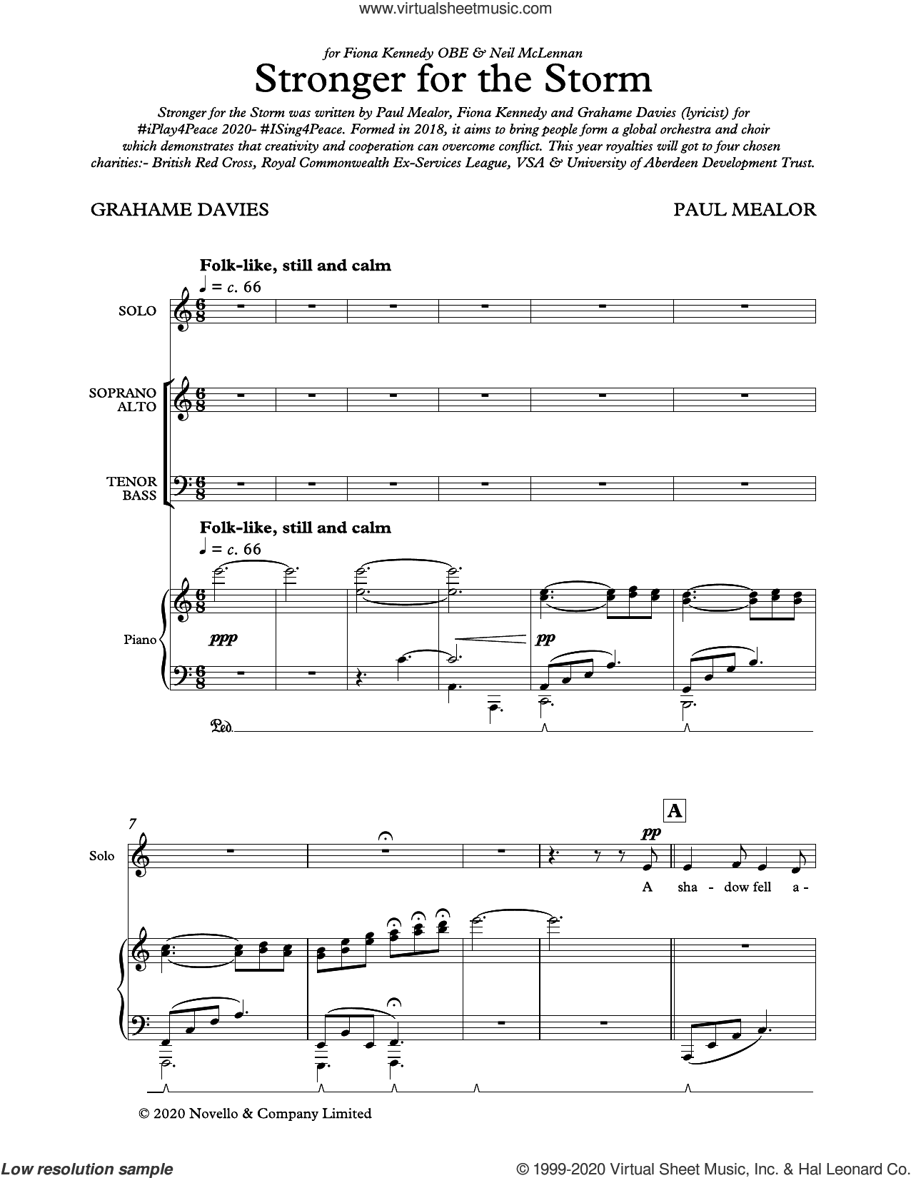 Stronger For The Storm sheet music for choir (SATB: soprano, alto, tenor, bass) by Paul Mealor, Fiona Kennedy and Grahame Davies, classical score, intermediate skill level