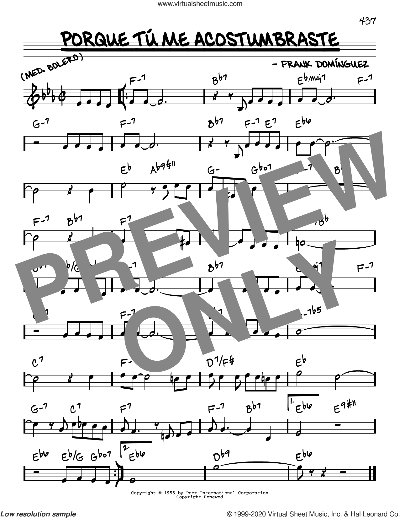 Porque Tu Me Acostumbraste sheet music for voice and other instruments (real book) by Frank Dominguez, intermediate skill level
