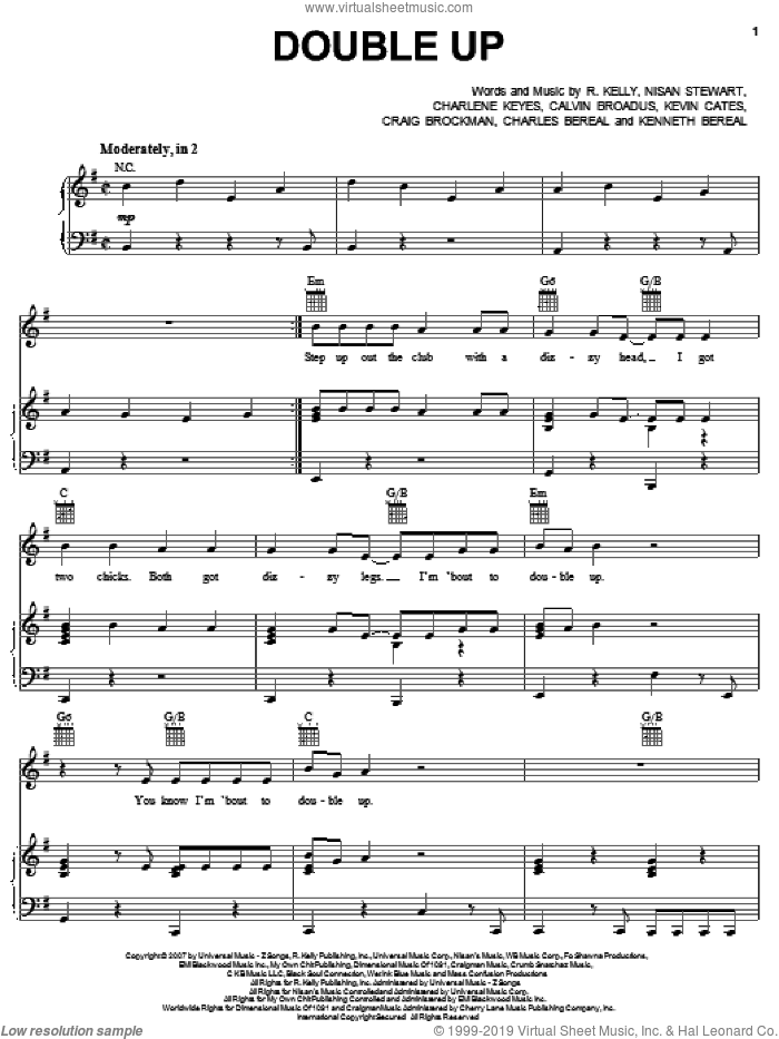 Double Up sheet music for voice, piano or guitar by Robert Kelly, Calvin Broadus, Charlene Keyes, Charles Bereal, Craig Brockman, Kenneth Bereal, Kevin Cates and Nisan Stewart, intermediate skill level