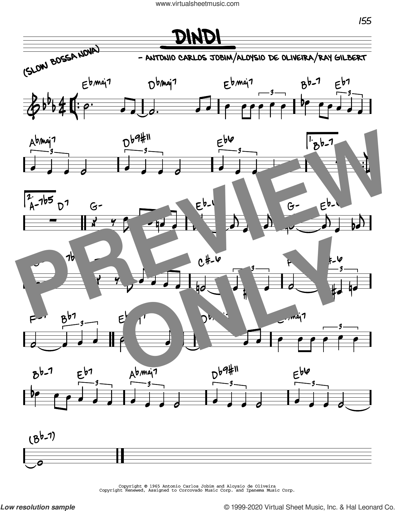 Dindi sheet music for voice and other instruments (real book) by Antonio Carlos Jobim, Aloysio de Oliveira and Ray Gilbert, intermediate skill level