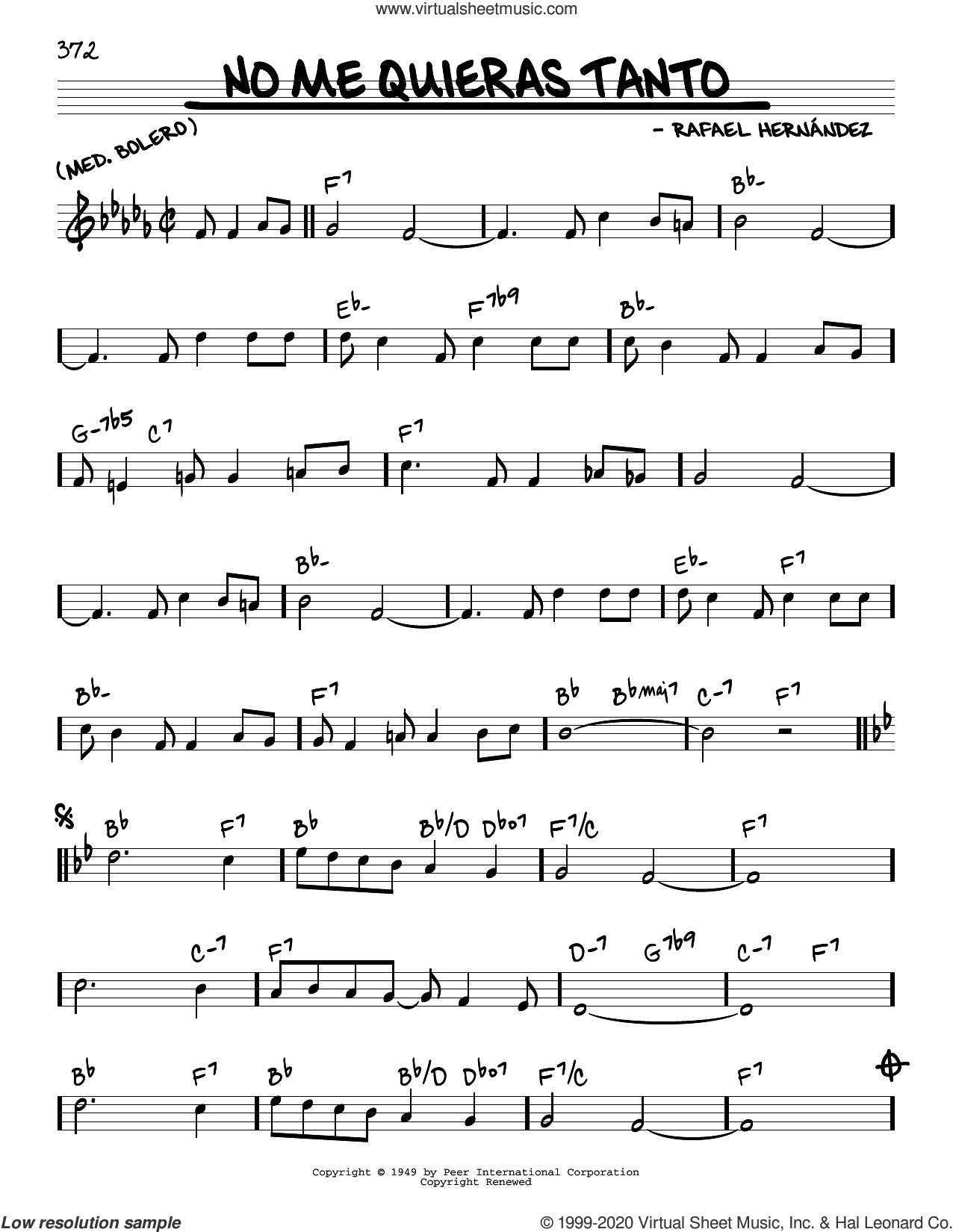 No Me Quieras Tanto sheet music for voice and other instruments (real book) by Rafael Hernandez, intermediate skill level