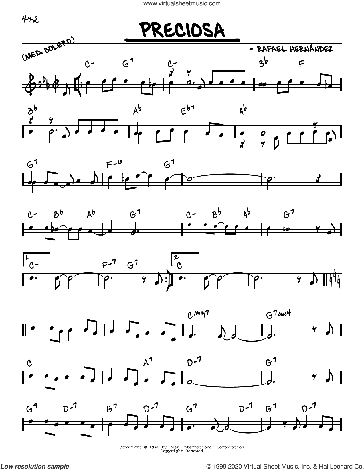 Preciosa sheet music for voice and other instruments (real book) by Rafael Hernandez, intermediate skill level