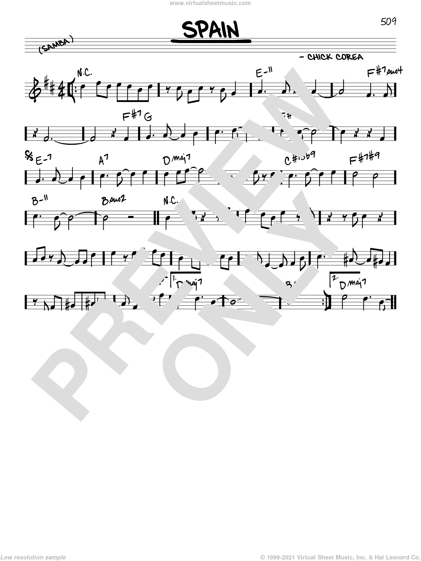 Spain sheet music for voice and other instruments (real book) by Chick Corea, intermediate skill level