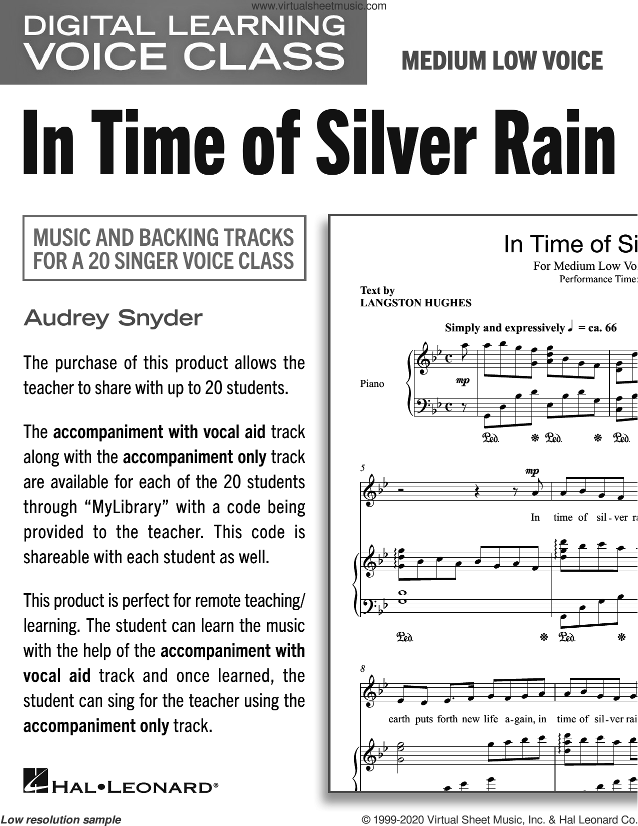 In Time Of Silver Rain (Medium Low Voice) (includes Audio) sheet music for voice and piano (Medium Low Voice) by Audrey Snyder and Langston Hughes, intermediate skill level