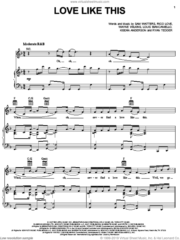Love Like This sheet music for voice, piano or guitar by Natasha Bedingfield featuring Sean Kingston, Natasha Bedingfield, Louis Biancaniello, Rico Love, Ryan Tedder, Sam Watters, Sean Kingston and Wayne Wilkins, intermediate. Score Image Preview.