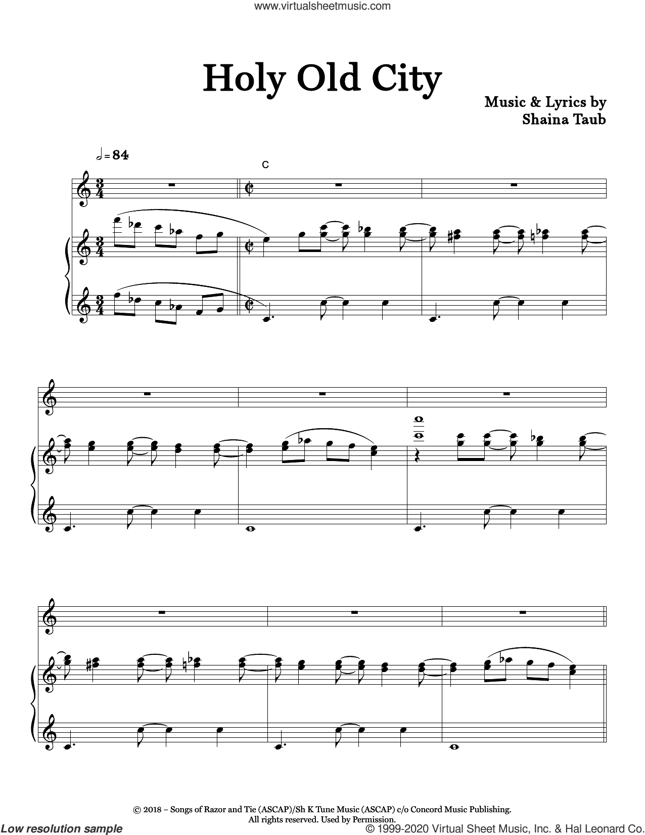 Holy Old City sheet music for voice and piano by Shaina Taub, intermediate skill level