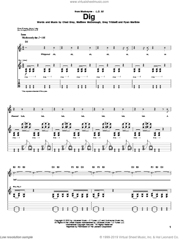 Dig sheet music for guitar (tablature) by Ryan Martinie