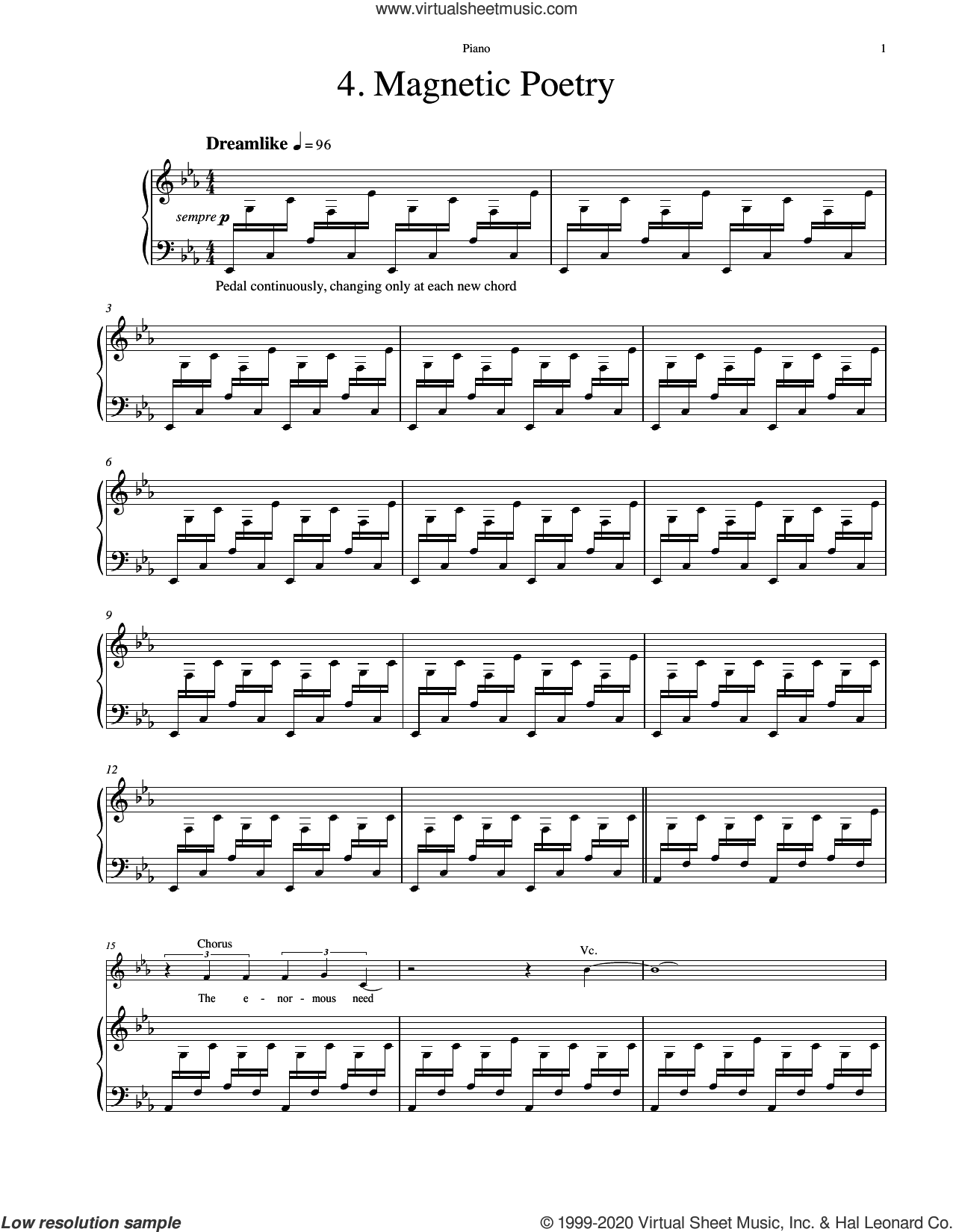 Magnetic Poetry (from The Sacred Veil) sheet music for orchestra/band (piano accompaniment) by Eric Whitacre, intermediate skill level
