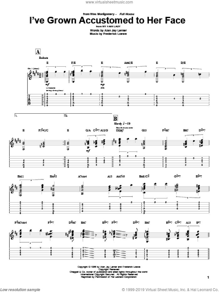 I've Grown Accustomed To Her Face sheet music for guitar (tablature) by Frederick Loewe, Wes Montgomery and Alan Jay Lerner. Score Image Preview.