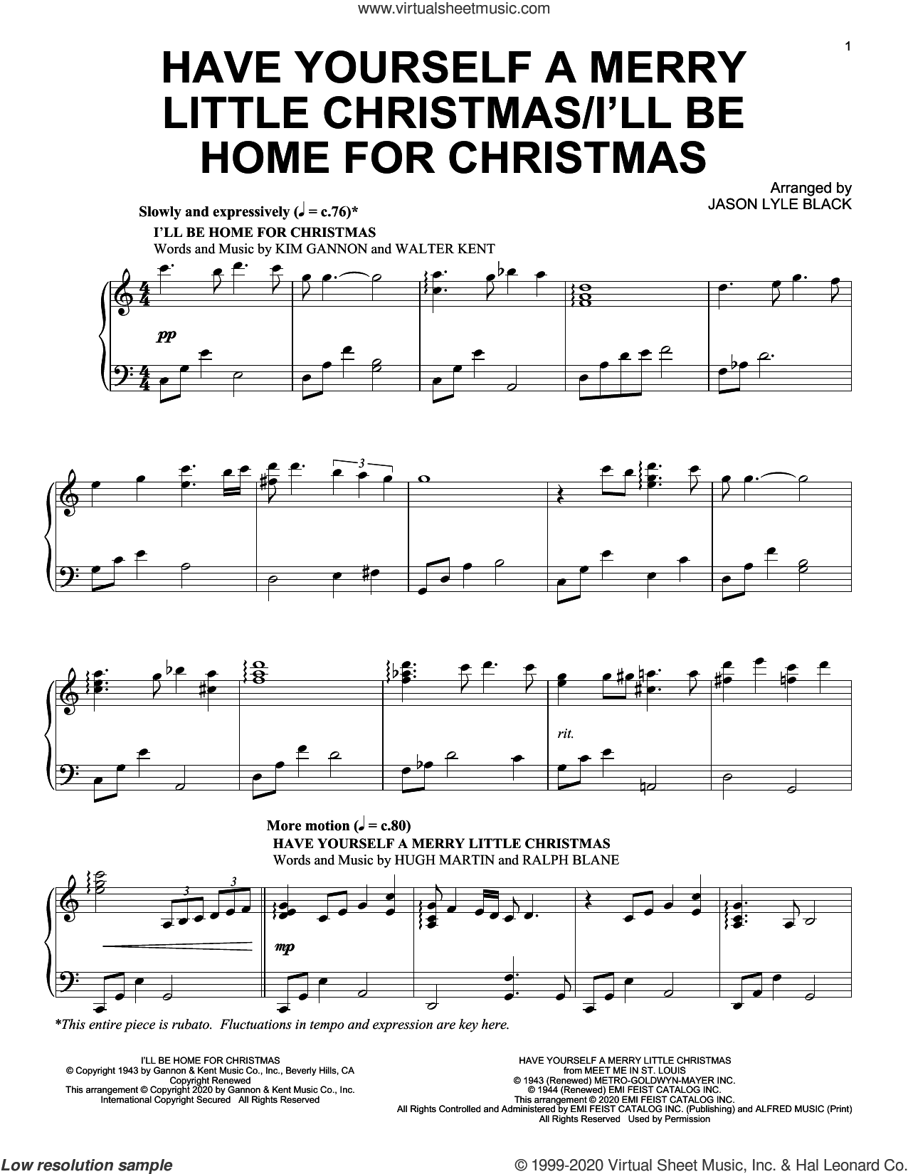 Have Yourself A Merry Little Christmas/I'll Be Home For Christmas sheet music for piano solo by Hugh Martin, Jason Lyle Black, Kim Gannon, Ralph Blane and Walter Kent, intermediate skill level