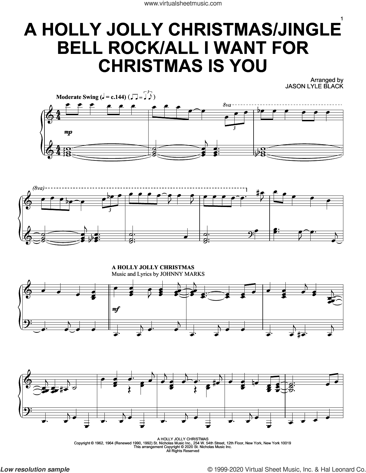 A Holly Jolly Christmas/Jingle Bell Rock/All I Want For Christmas Is You sheet music for piano solo by Johnny Marks, Jason Lyle Black, Jim Boothe, Joe Beal, Mariah Carey and Walter Afanasieff, intermediate skill level