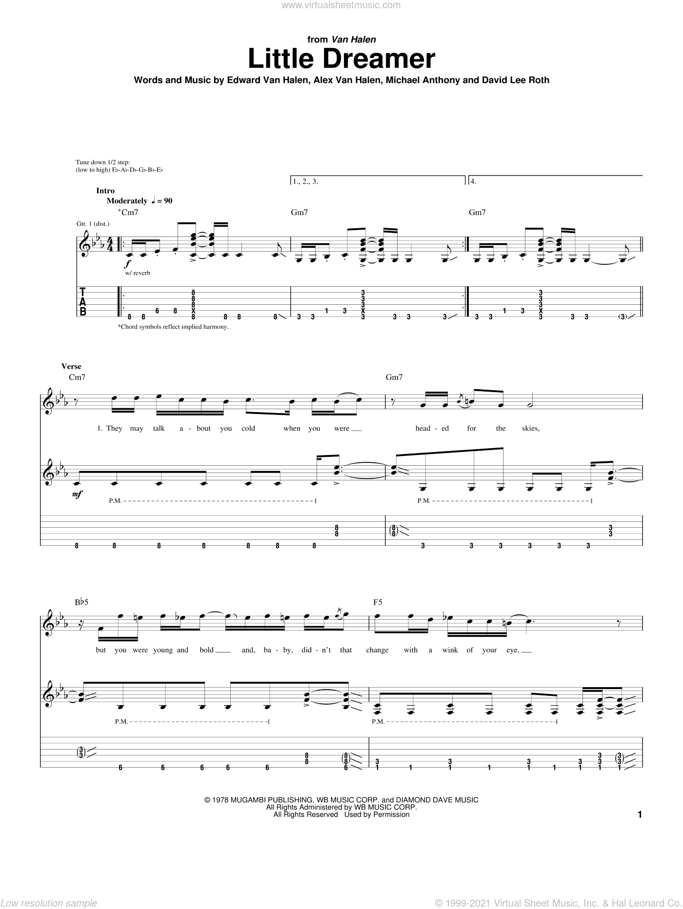 Little Dreamer sheet music for guitar (tablature) by Edward Van Halen, Alex Van Halen, David Lee Roth and Michael Anthony, intermediate skill level
