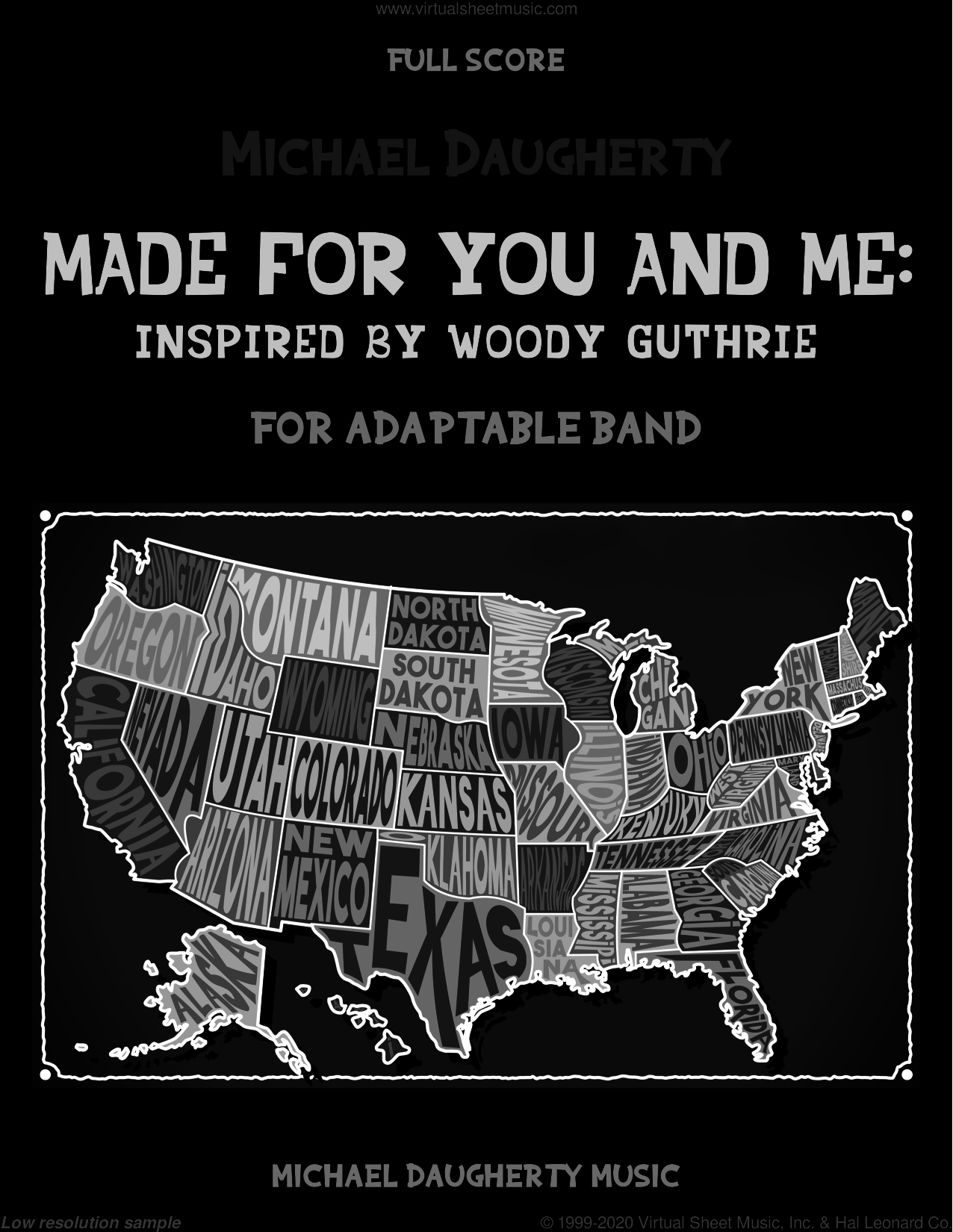 Made for You and Me: Inspired by Woody Guthrie (COMPLETE) sheet music for concert band by Michael Daugherty, intermediate skill level