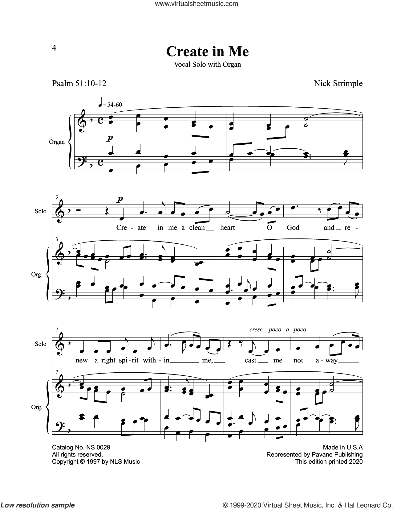Create In Me sheet music for voice and piano by Nick Strimple and Psalm 51, intermediate skill level